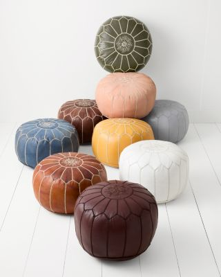 Moroccan Leather Pouf by Garnet Hill