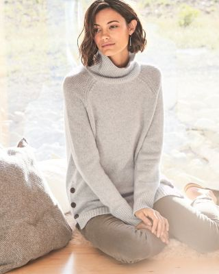 Save Side Button Cashmere T Neck by Garnet Hill