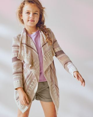 Girls' Folkloric Open Cardigan