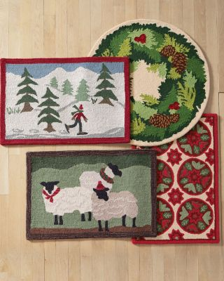 Save 25 Percents Garnet Hill Holiday Hooked Wool Rug by Garnet Hill