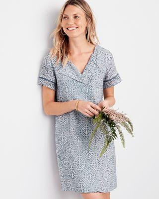 Lilla P Woven Gauze Short-Sleeve Dress  985ccede57984