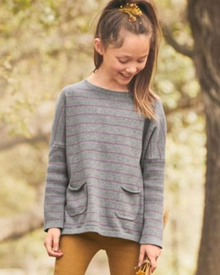 Girls' Organic-Cotton Boxy Pocket-Detail Sweater