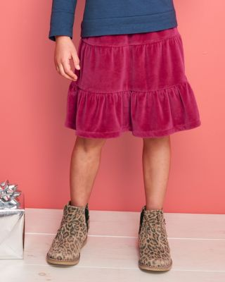 Girls' Velour Tiered Skirt