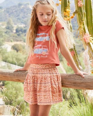 Girls' Organic-Cotton Printed Knit Skirt
