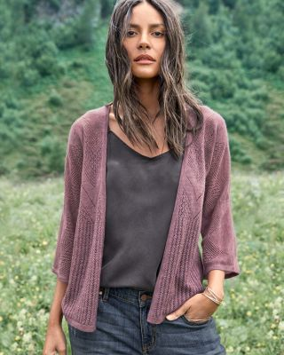 Featherweight Cashmere Bell-Sleeve Cardigan