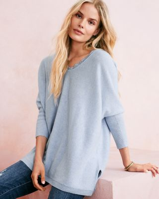 Cashmere Lace-Trimmed Oversized Sweater