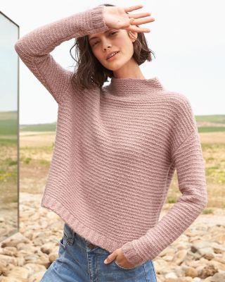 Cashmere Blend Bouclé Cropped Sweater by Garnet Hill