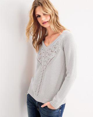 49316cd1adf V-Neck Pointelle-Detail Sweater