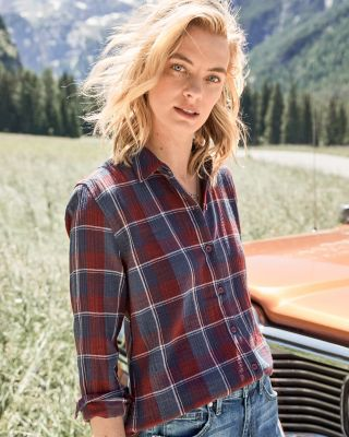 Organic-Cotton Plaid Shirt