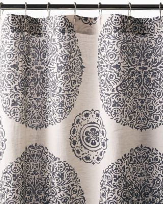 Medallion Linen Shower Curtain