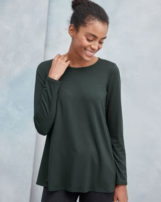 Eileen Fisher Fine Tencel™ Jersey Jewel Neck Top by Garnet Hill