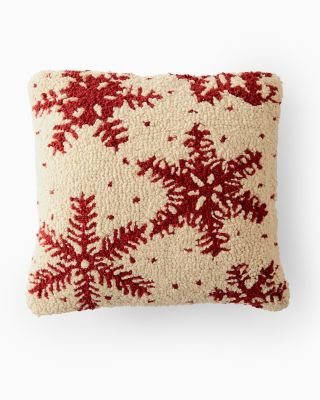 Snowflakes Hooked Wool Pillow
