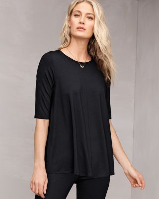 EILEEN FISHER Lightweight Viscose-Jersey Elbow-Sleeve Tunic