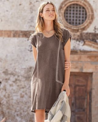 Organic-Linen Embroidered Knit Dress