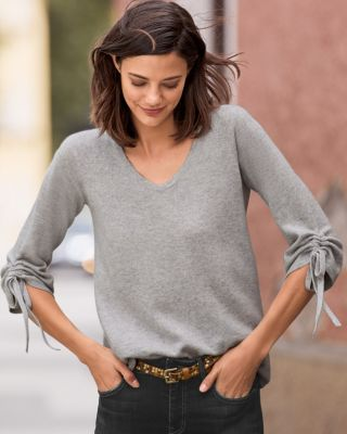 Tie-Sleeve Cashmere Sweater