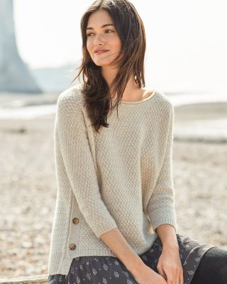 Cashmere Button Detail Boxy Sweater by Garnet Hill