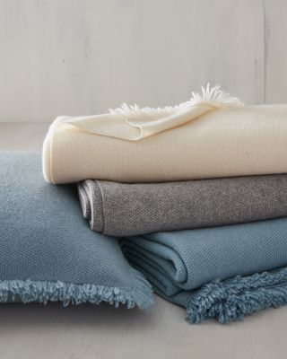 EILEEN FISHER Fringe Cashmere Throw and Pillow Cover
