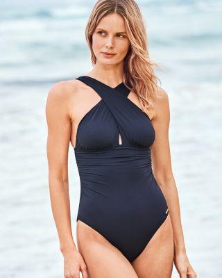 5648eb5ef3 Michael Kors Urban Gypsy High-Neck One-Piece Swimsuit | Garnet Hill