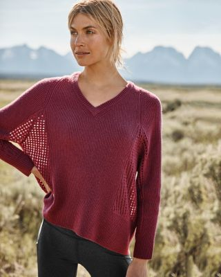 Cashmere Mesh Rib-Knit Sweater