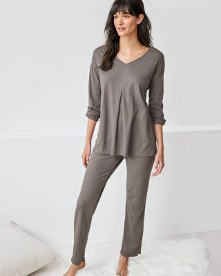 EILEEN FISHER Organic-Cotton Pleat-Detail Long-Sleeve Pajamas