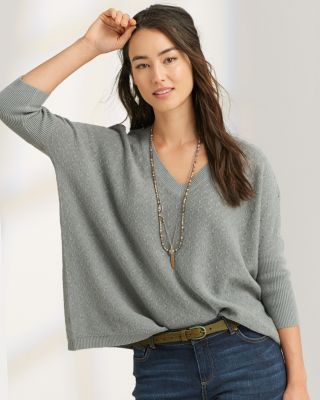 New Boxy Texture Stitch Pullover by Garnet Hill