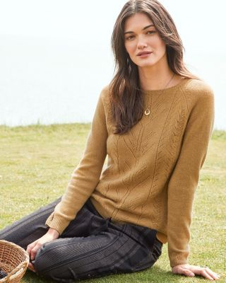 New Cashmere Pointelle Detail Pullover by Garnet Hill