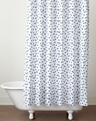 Conversational Organic-Cotton Percale Shower Curtain