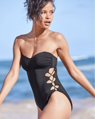 Kenneth Cole Solid Attitude Side-Looped Mio One-Piece Swimsuit