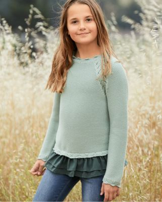 Girls' Organic-Cotton Layer-Detail Sweater