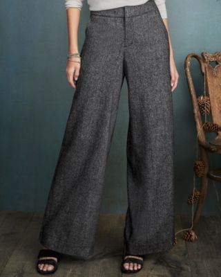 Peppered-Tweed Wide-Leg Trousers