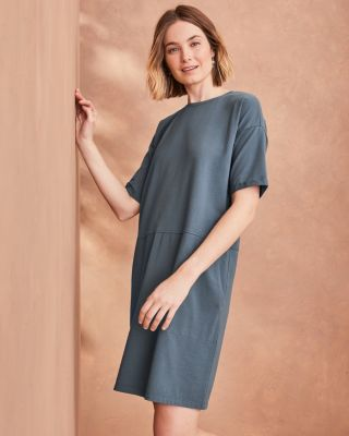 EILEEN FISHER Organic-Cotton Jersey Round-Neck Dress - Regular