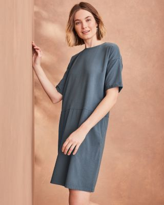 EILEEN FISHER Organic-Cotton-Jersey Round-Neck Dress