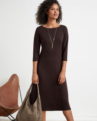 Eileen Fisher Fine Tencel™ Jersey Bateau Neck Midi Dress by Garnet Hill