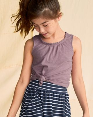 Girls' Organic-Cotton Ruched-Neck Tank
