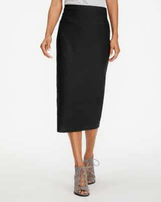 New Eileen Fisher Stretch Crepe Slim Midi Skirt by Garnet Hill