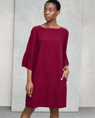 EILEEN FISHER Silk Georgette Crêpe Lantern-Sleeve Dress