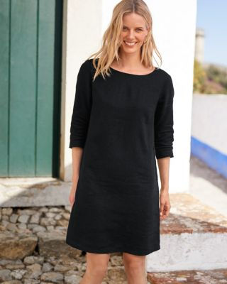Essential Three-Quarter-Sleeve Linen Dress