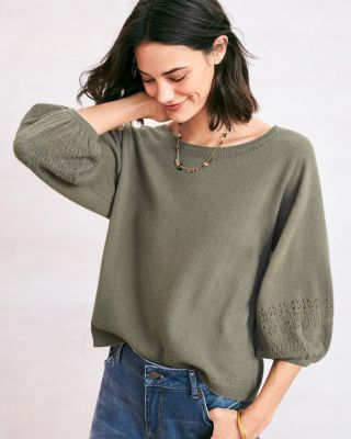 Cashmere Blouson-Sleeve Pullover