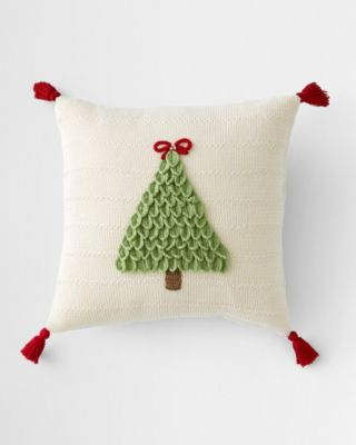 Holiday Knit Tree with Bow Pillow