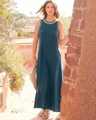 Embroidered Jewel-Neck Maxi Dress