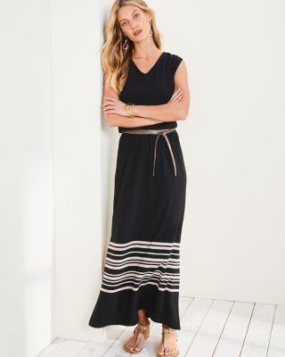V-Neck Cap-Sleeve Maxi Dress