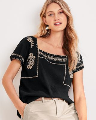 Embroidered Square-Neck Blouse