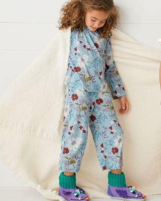 Girls' Smocked Ruffle Long-Sleeve Pajamas