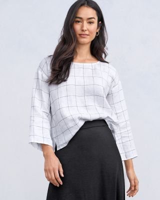 EILEEN FISHER Organic-Linen Checked Boxy Top