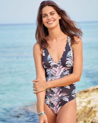 BCBG Nature's Delight Shirred One-Piece Swimsuit