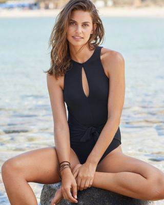 Robin Piccone High-Neck Keyhole One-Piece