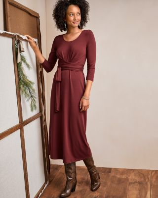 Ballet-Wrap Knit Midi Dress
