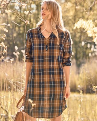 V-Neck Gauze Shirtdress