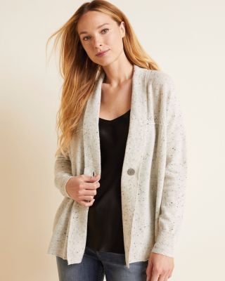 Recycled-Cashmere One-Button Cardigan