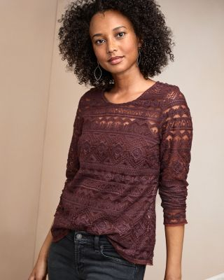 Embroidered-Lace Knit Top